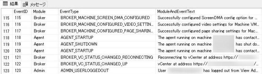 HorizonView イベントデータベース クエリの修正後の実行結果