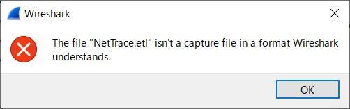 Wireshark etlファイルを開けない