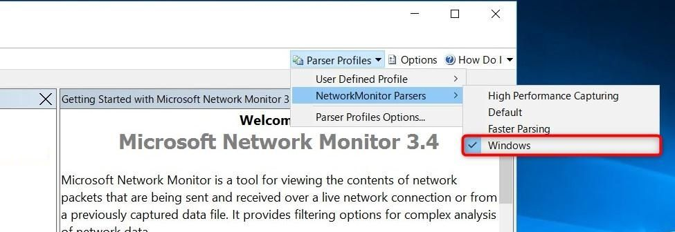 Network Monitor Parsers設定